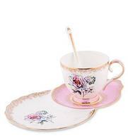 "Чайная пара ""Цветок Неаполя"" (Fiore Napoli Pavone) из костяного фарфора JK-126"