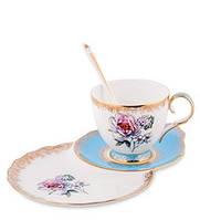 "Чайная пара ""Цветок Неаполя"" (Fiore Napoli Pavone) из костяного фарфора JK-133"