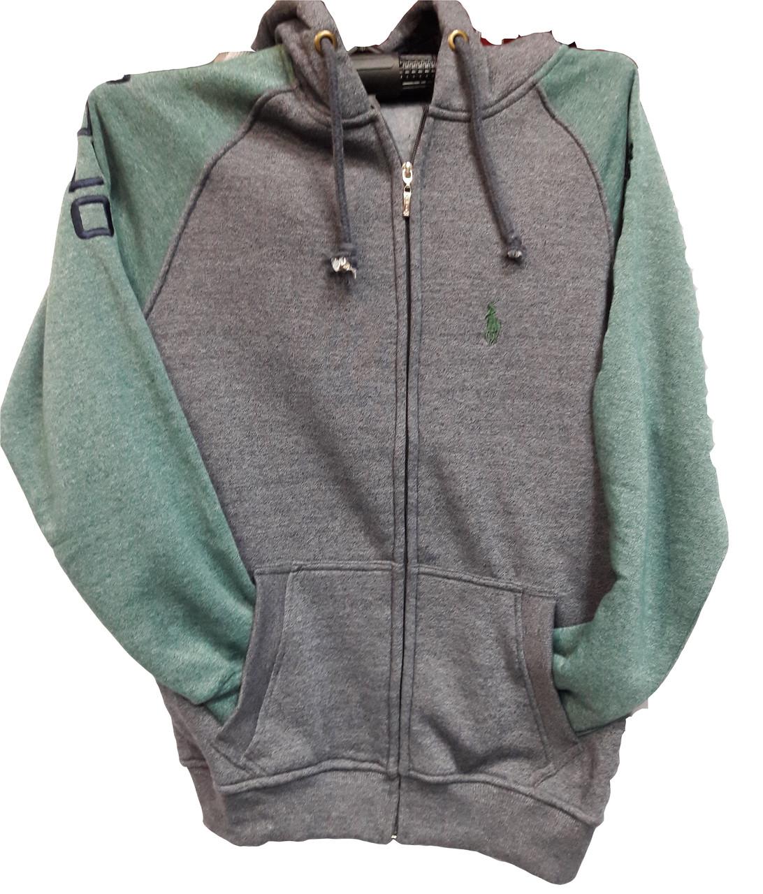 Кофта мужская  Polo серая с зеленым
