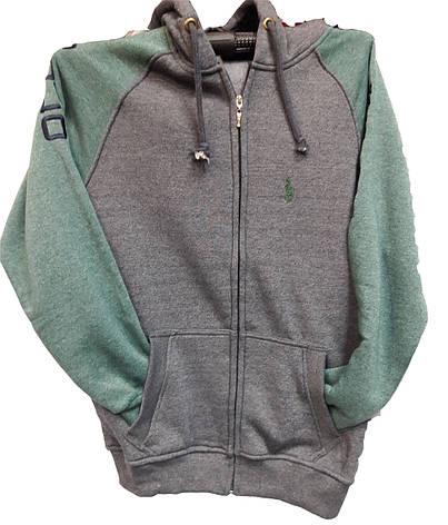 Кофта мужская  Polo серая с зеленым, фото 2