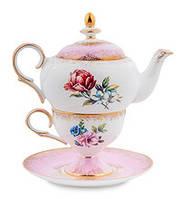 """Чайный набор """"Цветок Неаполя"""" (Fiore Napoli Pavone) из костяного фарфора JK-127"""