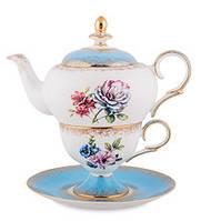 """Чайный набор """"Цветок Неаполя"""" (Fiore Napoli Pavone) из костяного фарфора JK-134"""