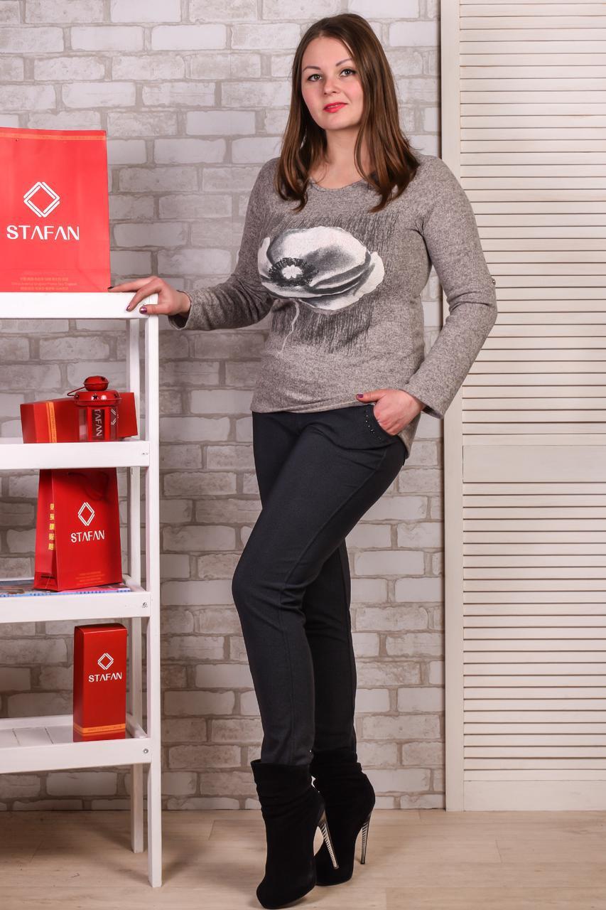 Женские лосины со стразиками на карманах Jujube B025-1 2XL-4XL. Размер