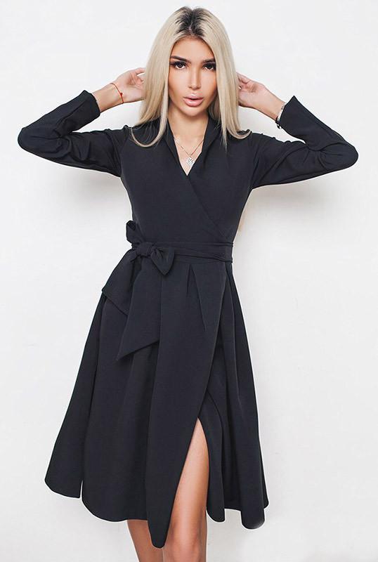Чорна сукня на запах -Аврора - ДО Р. 58