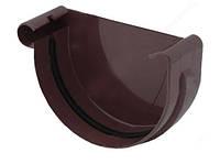 Заглушка желоба левая водосточной системы Бриза (Bryza) 125 мм коричневый