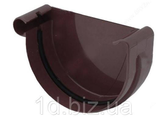 Заглушка желоба левая водосточной системы Бриза (Bryza) 100 мм коричневый