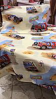 Полуторный комплект постельного белья 150х220 из бязи Тиротекс  Грузовики на бежевом