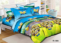 Полуторный комплект постельного белья 150х220 из ранфорса Миньоны (спорт)