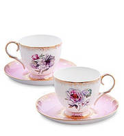 """Чайный набор на 2 персоны """"Цветок Неаполя"""" (Fiore Napoli Pavone) из костяного фарфора JK-121"""