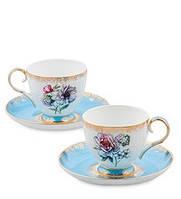"""Чайный набор на 2 персоны """"Цветок Неаполя"""" (Fiore Napoli Pavone) из костяного фарфора JK-128"""