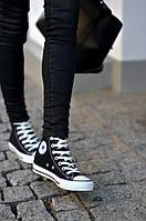 Черные высокие кеды Converse