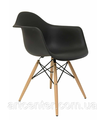 Кресло офисное пластиковое черное, кресло для ожидания, кресло садовое (Тауэр Вуд черный)