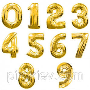 Золотые фольгированные цифры от 0 до 9, размер 88 см.
