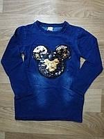 Платье-туника для девочек (джинсовый трикотаж) ,двухсторонняя пайетка, Seagull 10-16 лет.