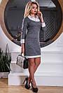 Жіноче офісне плаття, розміри від 44 до 50, полуприлегающее, сіре, фото 3