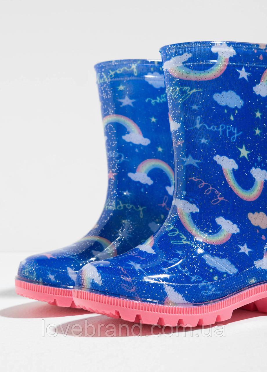 Резиновые чоботы от дождя OVS для девочки синий размер 30