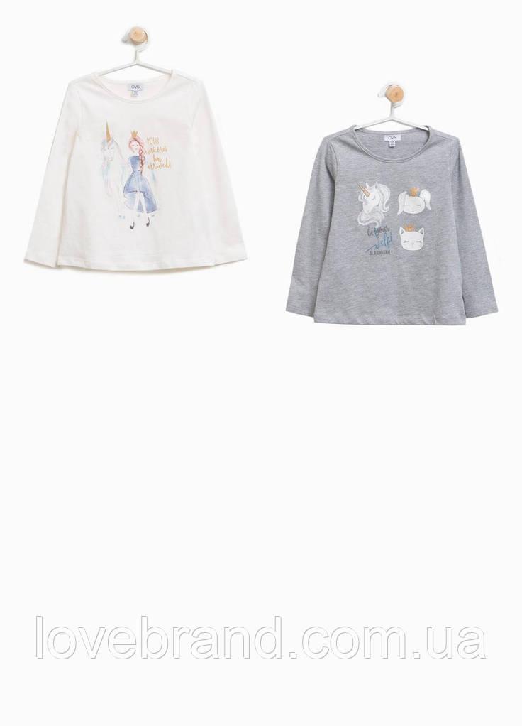 Набор с 2-х футболок на длинный рукав OVS для девочки белый, серый 3-4 г./104 см