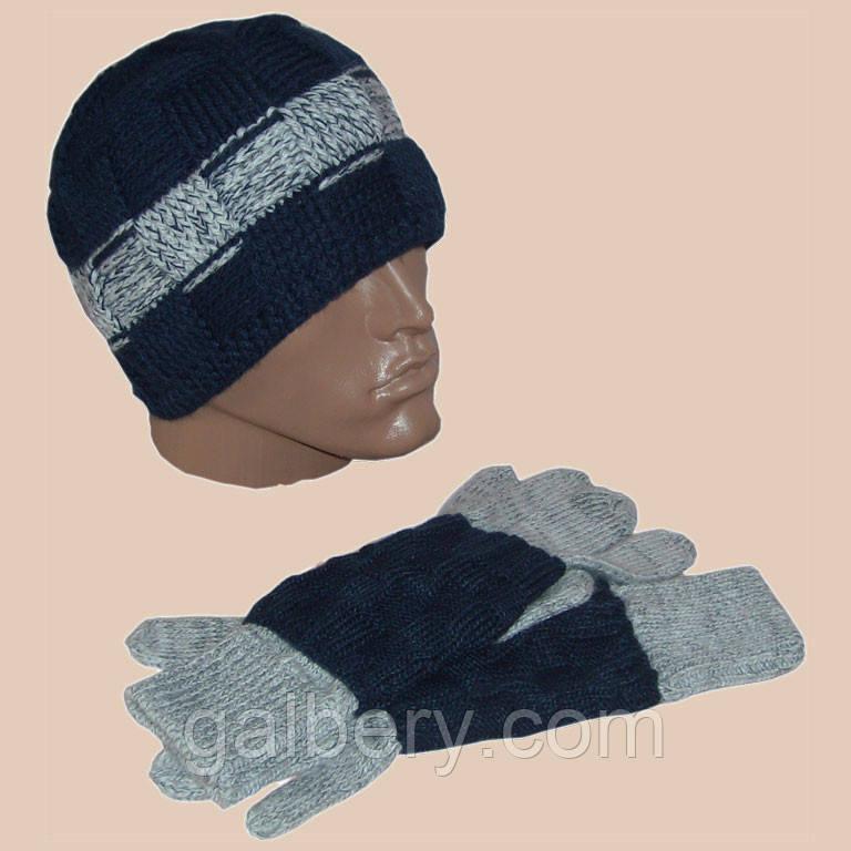Вязаная мужская шапка и перчатки с митенками