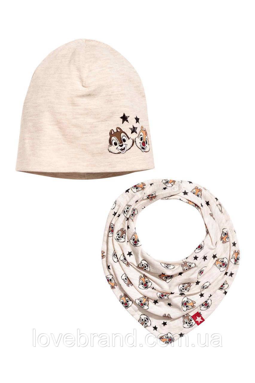 "Набор шапочка и хомут ""Chip 'n Dale"" H&M для девочки или мальчика 1-2 г./49-50 см"