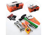Набор инструментов, молоток, пила, плоскогубцы, рулетка, болты, в чемодане, 2133