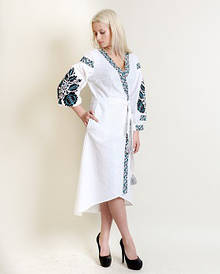 Вышитое женское платье Древо жизни домотканное полотно