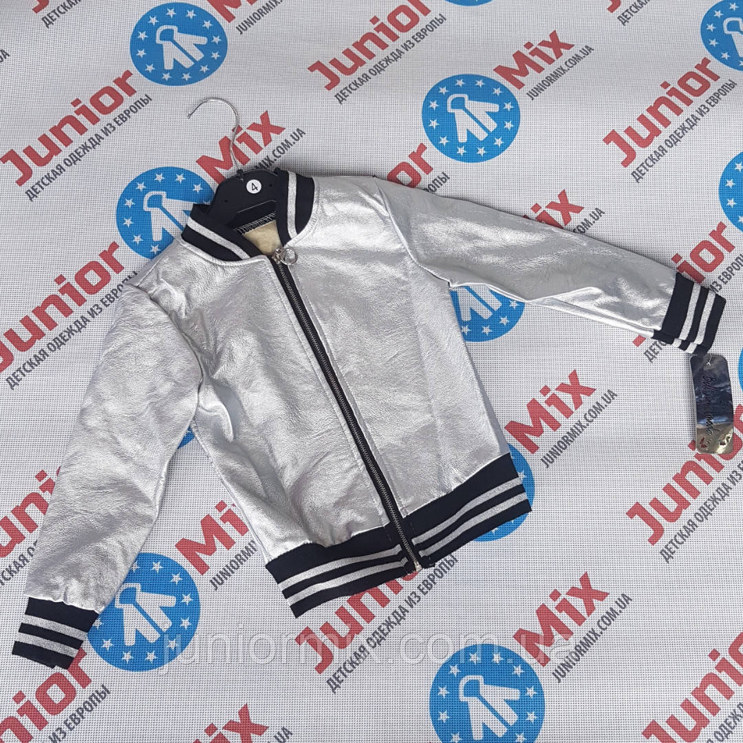 Модные детские куртки бомбер для девочек из кожзама оптом ИТАЛИЯ MODA