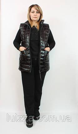 Женский турецкий костюм тройка с жилетом 48-54р  синий 56, фото 2