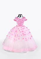 Детское нарядное платье на выпуск в детском саду розовое без шлейфа