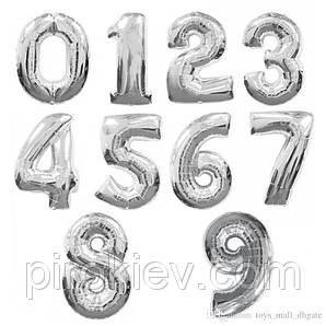 Фольгированные шары-цифры с гелием, серебро,  от 0 до 9, размер 88 см.