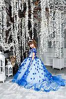 Детское нарядное платье на выпуск в детском саду синее со шлейфом
