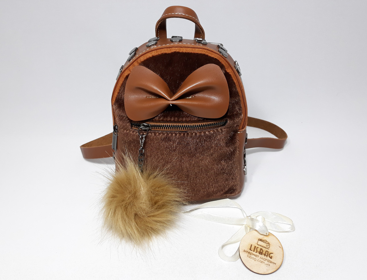 dfda2bcea8be ... Женский маленький рюкзак с Бабочкой на меху коричневого цвета , фото 3  ...