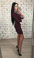 Платье женское Velenara марсала  , креп-костюмка+шифон !, фото 1