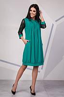 Платье женское с гипюровыми рукавами мятное