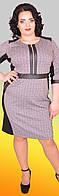 Шерстяное платье с декоративными элементами из эко-кожи и оригинальными замочками, клетка, большие размеры