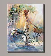 Картина HolstArt Девушка с велосипедом 41*54см арт.HAS-399