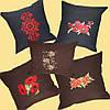 Сувенирная подушка из льняной ткани с вышивкой с маками на диван  4, фото 6