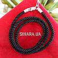 Черный шнурок на шею с серебряной застежкой Милан диам. 3мм, фото 3