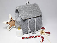 Меховой рюкзак для девушки, мягкий приятный на ощупь Серый