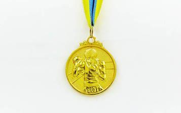Медаль спортивна зі стрічкою Бокс (метал, d-5см, 28g золото, срібло, бронза)10шт