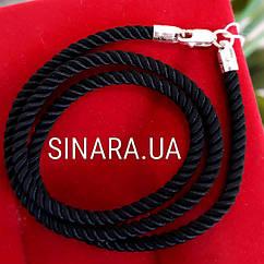 Черный шнурок на шею с серебряной застежкой Милан диам. 3мм