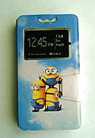 Яркий универсальный чехол книжка с рисунком Миньйон для телефонов с диагональю  4.7 - 5.0 дюйма, фото 1