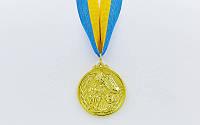 Медаль спортивна зі стрічкою Біг (метал, d-5см, 25g, 1-золото, 2-срібло, 3-бронза) 10шт
