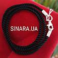 Черный шнурок на шею с серебряной застежкой Милан 2.5 мм, фото 3