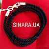 Черный шнурок на шею с серебряной застежкой Милан 2.5 мм