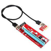 Райзер PCI-E 1X - 16X, USB 3.0 кабель 60см, живлення SATA, фото 1