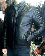 Кожаная куртка (натуральная) со стеганными элементами, черная, фото 1