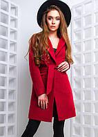 Элегантное женское пальто (кашемир, флис, накладные карманы, пляс на завязке, длинные рукава) РАЗНЫЕ ЦВЕТА!