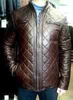 Кожаная куртка, стеганная, цвет - коричневый
