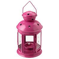 """ИКЕА """"РОТЕРА"""" Фонарь для греющей свечи, для дома и улицы, розовый, 21см."""