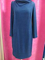 Копия Современное платье рубчик полуприталенное с невысоким хомутом, бордовый, р.52 код 5149М